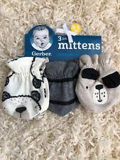 New Gerber 3pk Mittens Dogs 0-3 Month