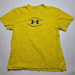 Under Armour Heat Gear Big Graphic T Shirt Men's XL Yellow Football Loose Fit