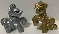 My Little Pony Silver & Gold Mini Figure Lot Toy G4 MLP Rarity & Applejack 🔥