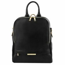 Tuscany Leather Soft Italian Leather Backpack for Women in Black RRP £142