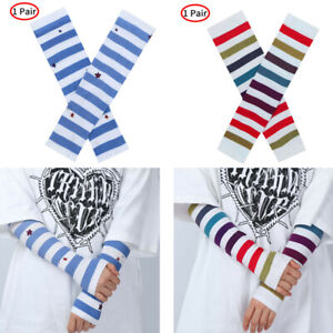 """Women Breathable Summer Sunscreen Arm Sleeves Striped Star Protection Cover 13"""""""