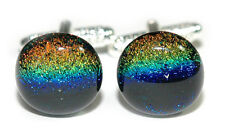 BEAUTIFUL MULTI COLOR FUSED GLASS CUFF LINKS (227)