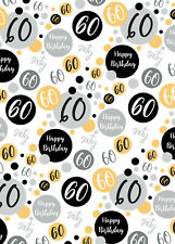2 Sheets 60th Birthday Wrapping Paper Age 60 Wrap Gold Black  Male / Female (PA)