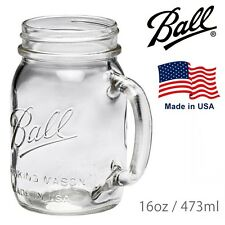 "4 X Handle Drinking (440ml) Jars Embossed With ""ball Mason"" Regular Mouth USA"