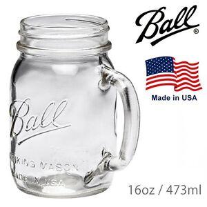 "4 x Handle Drinking (440ml) Jars Embossed With ""Ball Mason"" Regular Mouth USA!"