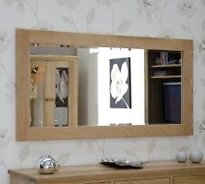 Nero Solid Oak Furniture Large Bevelled Glass Wall Mirror