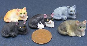 1:12 Scale Laying Resin Cat Tumdee Dolls House Miniature Pet Animal Kitten FR