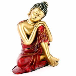Neu+Buddha+Figur+Kopf links+Asien+Buddhafigur+Goldeffekt+15cm+Thai Buddha+Rot+