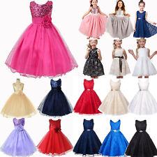 Girls Kids Princess Birthday Wedding Party Prom Tulle Tutu Prom Swing Dress Gown
