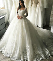 2018 White/Ivory Lace Wedding Dress Bridal Gown Custom Size 4 6 8 10 12 14 16 18
