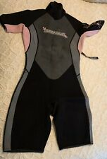 New Seadoo Womens Medium Shorty Wetsuit Black Pink Diving Snorkeling with Tags