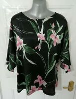 ❤ M&S Size 18 Black Pink Green Floral Silky Feel Front Blouse Top Stretchy Back