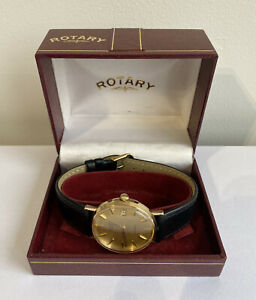 Mens 9ct Gold Rotary Quartz Date Watch With Box