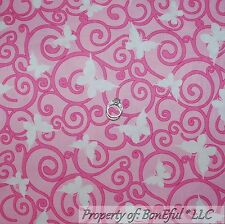 BonEful Fabric Cotton Quilt Pink White BUTTERFLY Lady Breast Cancer Calico SCRAP
