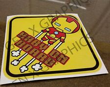 IRONMAN Baby Sign CUTE BABY ON BOARD CHIBI  WINDOW DECAL  STICKER WARNING VINYL