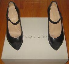 Atalanta Weller Janey Black Leather Suede Platforms Mary Jane Wedges Shoes 36 6