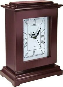 PS Rectangular Concealment Solid Wooden Clock w/AA Battery Brown RGC