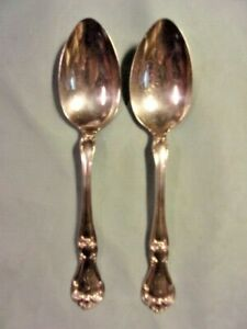 TWO ANTIQUE GORHAM STERLING SILVER SERVING SPOONS, Buckingham Pattern, 8-1/2 in.