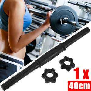 Pair Dumbbell Bar Handles Weight Lifting Gym Spinlock Collars Training Barbell