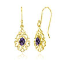 Filigree Heart African Amethyst Teardrop Dangle Earrings in Gold Plated Silver