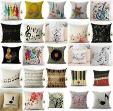 "18"" Retro Music Note Print Throw Pillow Case Art Home Office Decor Cushion Cover"