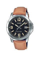 Casio MTP-V004L-1B2 Men's Brown Leather Band Black Dial Analog Date Watch