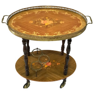 Italian Vintage 20th Century Marquetry Oval Champagne Drinks Server Trolley