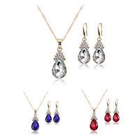 1X(Halskette Ohrringe Diamant Wassertropfen Elegante Damen Schmuck Set KrisA8E7)