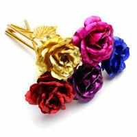 Gold Foil Paper Roses Artificial Flowers Bling Glittery Fake Silk 25cm Shin J7Q6