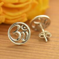 Om Ohm Aum Sterling Silver .925 Yoga Open Round Stud Studs Post Earrings