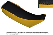 YELLOW & BLACK CUSTOM FITS JAWA 350 TWIN TYPE  DUAL LEATHER SEAT COVER