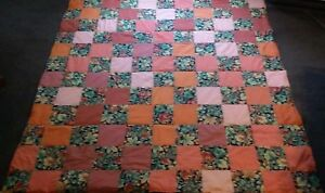 COUNTRY COTTAGE AUTUMN FALLING LEAVES PATCHWORK THROW QUILT IN ORANGES - NEW