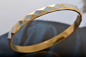 "9K YELLOW GOLD FILLED  8-1/4"" BANGLE BRACELET (2M156) DIAMOND DESIGN"