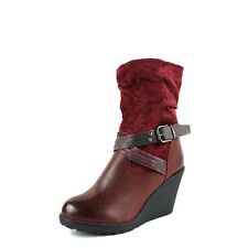 WOMENS SLOUCH WEDGE HEEL BUCKLE STRAP MID CALF LADIES ANKLE BOOTS SHOES SIZE 3-8