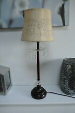 Vintage Bedside / Table Lamp with Crystal Drops
