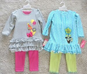 2-Molly & Millie Peaches N' Cream Party & Flower Set Outfits Girl Size 4T NWT