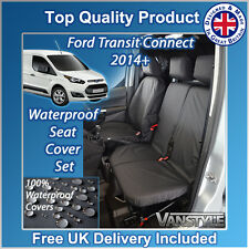 FORD TRANSIT CONNECT 14+ BLACK TAILORED WATERPROOF FRONT SEAT COVERS 1+2 H/DUTY
