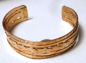 "3/4"" Wide Solid Bright Copper CUFF BRACELET Arthritis Relief Braid Design"