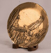Wendell August Solid Bronze Plate, Eagle in Canyon, with Wood Stand