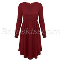 Women's Solid Color Round Neck Long Sleeve A-Line Midi Skater Dress Red/Black