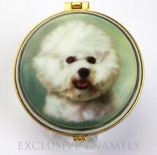 More details for alastor enamels bichon frise dog round hinged china trinket box