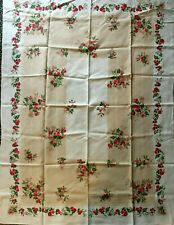 """Vintage 50's TABLECLOTH LINEN Floral Tan Red Rose 66"""" X 55""""  Unused"""