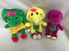 "Barney Baby Bop and BJ 8"" Plush.CLEAN Soft Bright Green Purple Yellow Lot EUC"