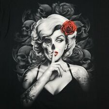 Men's Marilyn Monroe XL T-Shirt Tattoo Skull Rose Gangster