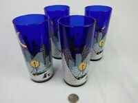 "Noritake Twas The Night Before Christmas Lot Of 4 Cobalt Glasses 6.5"" tall"