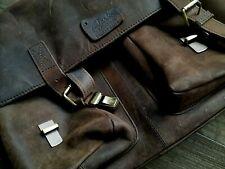 Bolso cazador retro vintage de cuero de búfalo para portátil de 15'' Messenger
