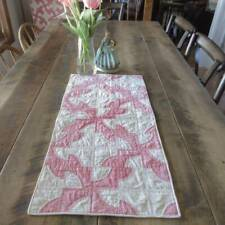 Pink & Cream VINTAGE 30s Drunkards Path Table or Doll QUILT 30x15
