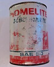 VINTAGE HOMELITE CHAIN SAW 2 CYCLE OIL LUBRICANT ADVERTISING CAN ~ FULL CAN