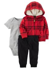 Carter's Red Fleece Jacket & Jogger Pants 3-Piece Outfit Set Baby Boy 3 Months
