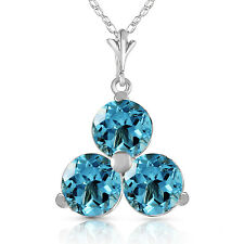 0.75 CTW 14K Solid White gold fine Start To Finish Blue Topaz Necklace 20""